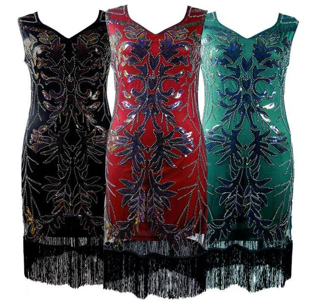 5aba780948e 1920s Vintage Inspired Sequin Embellished Fringe Long Gatsby Flapper Dress  Black Red Plus Size Latin Dance Free Shipping