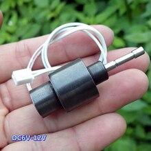 С источником питания от постоянного тока, 6 V-12 V Цилиндрический постоянный электромагнит, ход 7 мм, вал, диаметр 3,9 мм телескопическая Электромагнит воздействия Тип Магнитный электромагнитный клапан