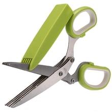 Office Paper Cut Shredding Scissors Stainless Steel 5 Blade Herb Scissors Kitchen Tool green