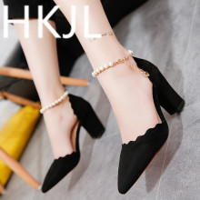 HKJL 2019 new Europe and America spring face pointy sexy stiletto heels go with the hollow single-button shoes A443