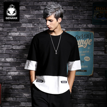 Genanx Brand Black Pure Cotton Half-Sleeve Clothes Male Hip Hop Round Collar Loose T-Shirt Youth Fashion