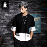 Genanx Brand Black Pure Cotton Half Sleeve Clothes Male Hip Hop Round Collar Loose T Shirt