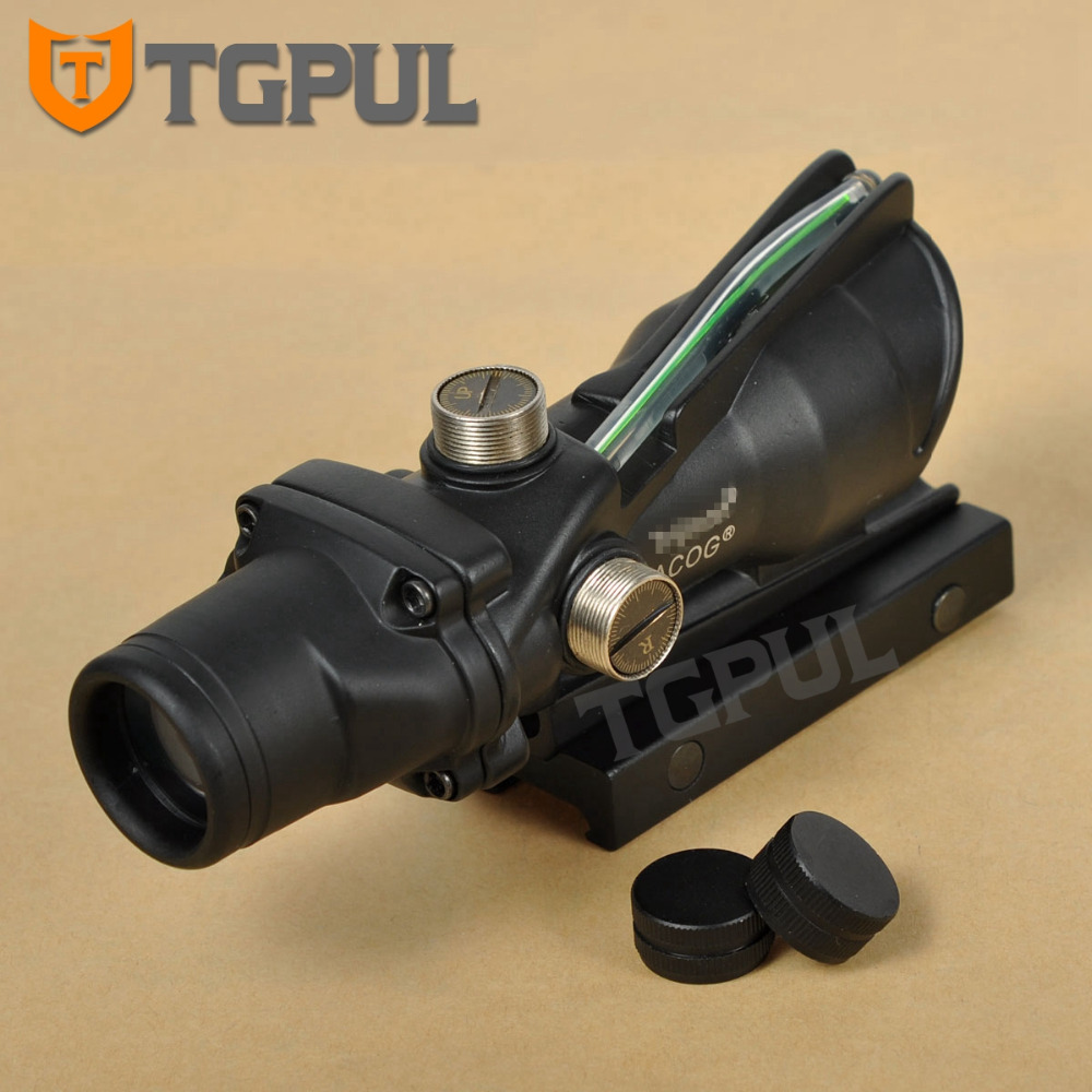 TGPUL ACOG 4X32 BDC Red & Green Illuminated Sight Rifle Scope Crosshair Device Fiber Source Tactical Hunting Scopes Fiber Optics