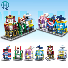 HSANHE NEW City Series Mini Street Ocean World Ice Cream Shop DIY Model Building Blocks Bricks Educational Toys For Children Kid