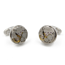 Hot sale Non-Functional Watch movement Cufflinks stainless steel Steampunk Gear cuff links for mens fashion Gift cufflink