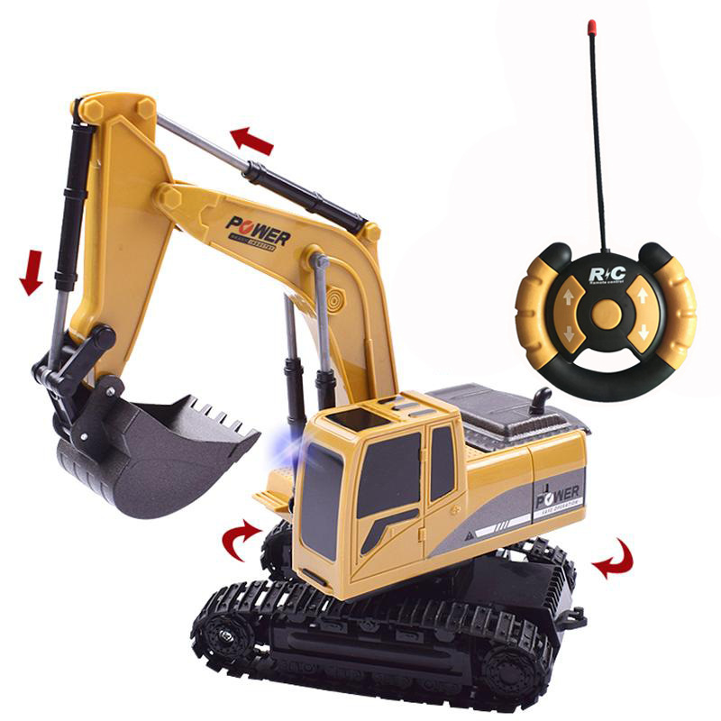 1 24 5CH RC Excavator Toys With Light Simulation RC Truck Toys Engineering Tractor Car Toys For Boys in RC Cars from Toys Hobbies