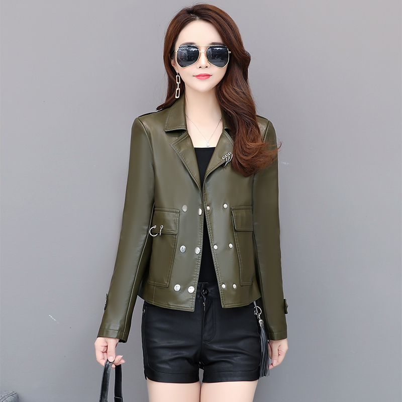 Suede   jacket woman 2019 Spring Autumn faux   leather   jacket women short lapel collar motorcycle   leather   jacket women