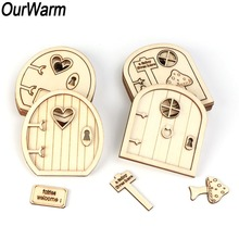 OurWarm 6Pcs Christmas Gift 3D Wooden Fairy Garden Door DIY Craft New Year 2019 Ornaments Home Decoration Accessories