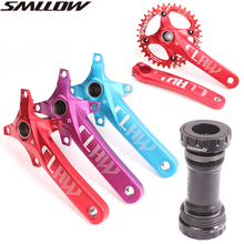 цена на Mountain bike crankset aluminum alloy sprocket bicycle crank fluted disc