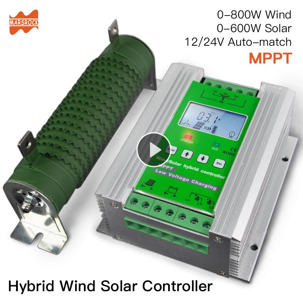 Controlador de carga Solar híbrido viento 1400W MPPT, 12/24V Auto aplicar para 800W 600w viento + 600W 400W solar con volquete carga