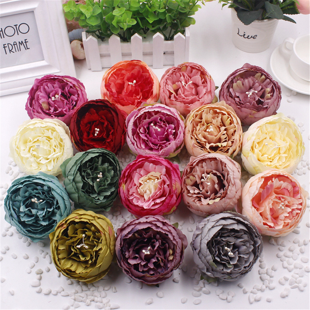1 Pcs High Quality Artificial Peony Flower Heads Diy Silk Flower