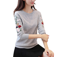 2017 New Fashion Autumn Winter Women Sweater O Neck Embroidery Floral Flower Long Sleeve Knitted Pullovers