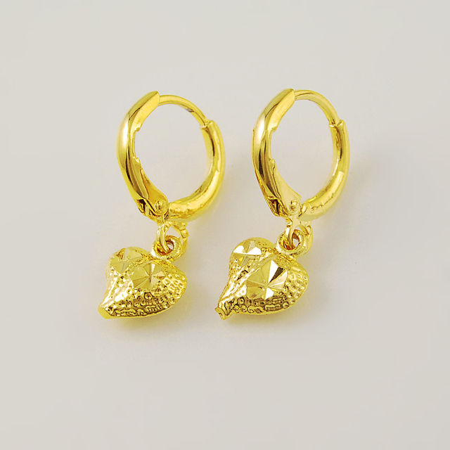 c5981a048 Korean style earrings,gold color Women's Fashion Jewelry Accessories 24K  Yellow Gold heart Earrings for