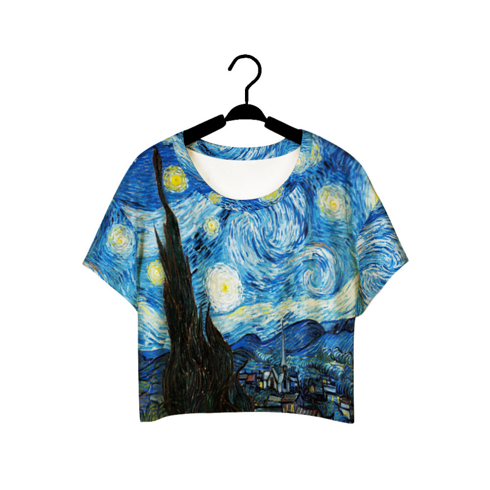 F978 الصيف المتناثرة نمط الفتيات فان جوخ الترفيه المحاصيل الأعلى كتابات اللوحة المرأة خمر t-shirt عارضة المحملة