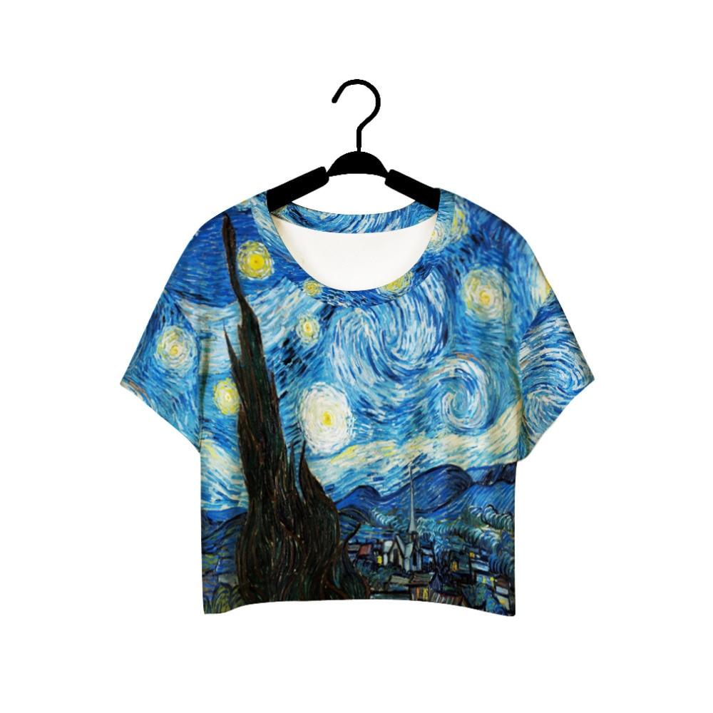 F978 Sommer Harajuku Style Piger Van Gogh Fritid Beskær Top Graffiti Maleri Kvinder Vintage T-Shirt Casual Tee