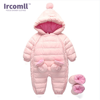 2017 Baby Winter Clothing Warm Hooded 90% Duck Down Baby Romper Newborn Baby Boy Girl Jumpsuits Children Snowsuit Down Clothes 1