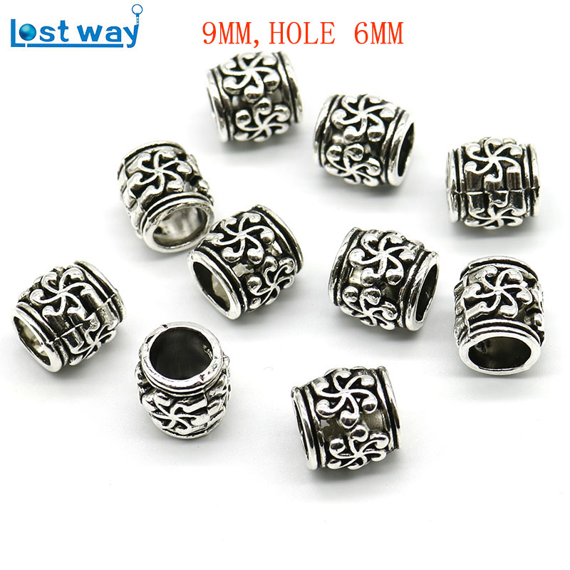 20pc/lot 6mm Big Hole Tibetan Silver Beads Metal Europe Pirate Spacer Beads Silver Plated For Charm Bracelets Jewelry Making