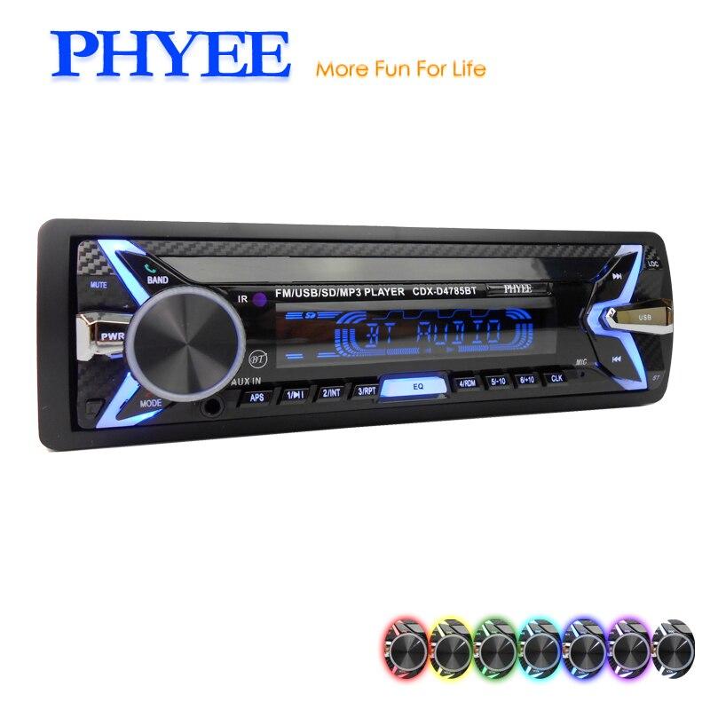 PHYEE Removable Panel Autoradio USB Auto Radio Car Audio Systems 1 Din Indash Multi-colors Lighting Original SX-MP33400BT bluetooth