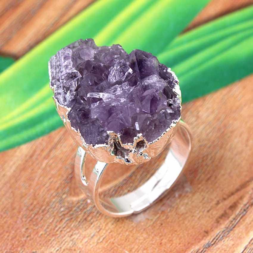 100-уникальные 1 шт посеребренные неправильной формы натуральные пурпурные аметисты кластера Кристалл палец кольцо Шарм ювелирные изделия