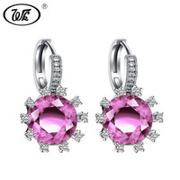 WK 925 Silver Wedding Jewelry Shining Sparkling White Pink Crystal Clip Earrings For Women Bride Accessories Party Gift 4W ED025