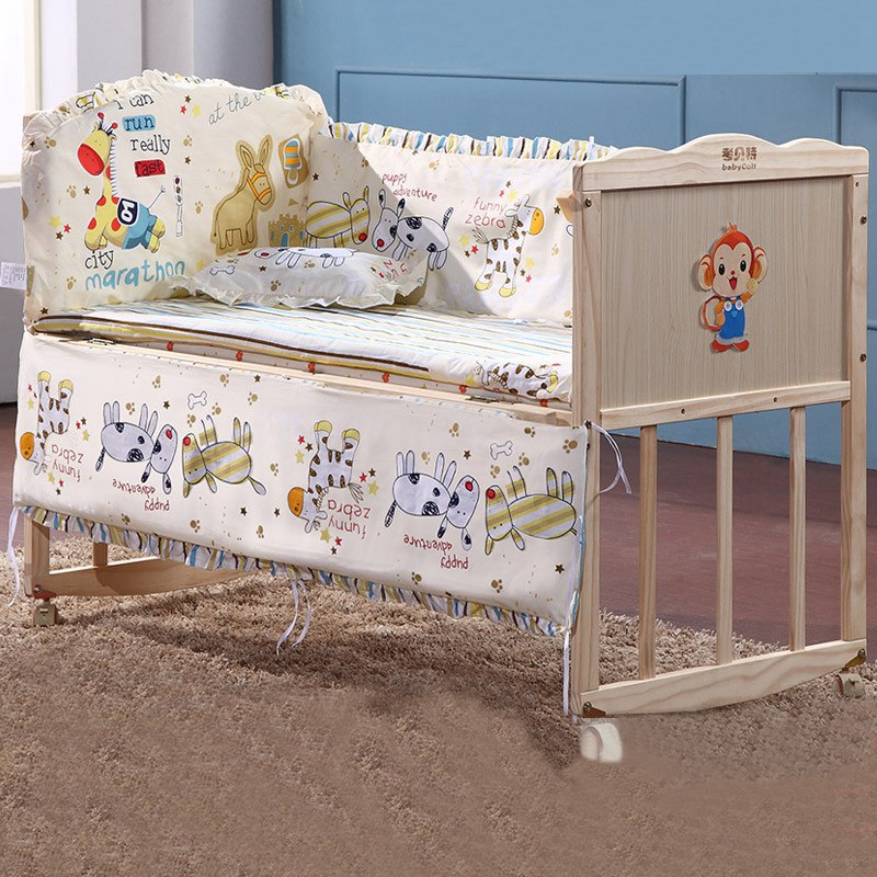 Online get cheap wood cot bed alibaba group for Baby bed with wheels