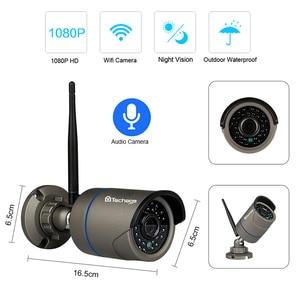 Image 2 - Techage 4CH 1080P bezprzewodowy 2MP Wifi system kamer bezpieczeństwa 12 cal Monitor LCD NVR HD zapis Audio CCTV zestaw do nadzorowania 2TB HDD