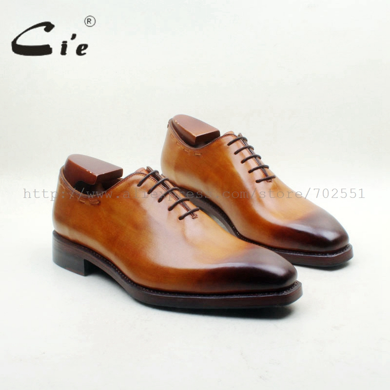 cie Square Plain Toe Hand-Painted Brown Bespoke Whole-Cut Handmade Men's Shoe Dress Oxfords Goodyear Welted Lace-Up No.OX713 cie square cap plain toe lace up oxfords black 100