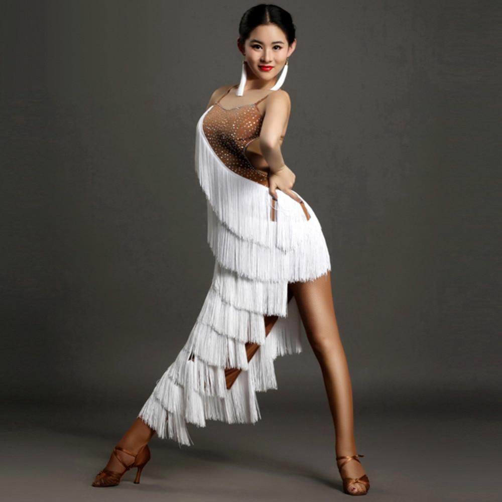 2019 Latin Fringe Dress Ballroom Dancing Dresses China Tassel White Costume For Dance Club Dresses Samba Dance Dress