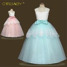 d14df0ee0bd4511 Романтические Розовые Пышное кружевное платье с длинными рукавами платье с  цветочным узором для девочек для свадеб