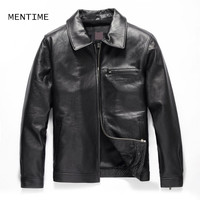 MENTIME Turn Down Collar Gentle Men S Leather Jacket Genuine High Quality Cow Skin Coat 4XL