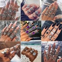 50 стилей Бохо панк полые треугольные капли воды стрелка солнце драгоценный камень кристалл набор серебряных колец для женщин Личность девушка ювелирные изделия