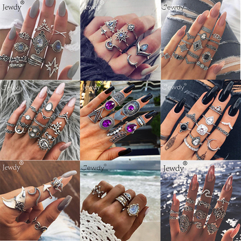 50 Styles Boho Punk Hollow Triangle Water Drop Arrow Sun Gem Crystal Silver Rings Set For Women Personality Girl Jewelry