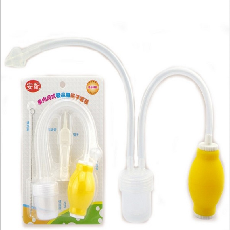 2017 New Aspirador Nasal Aspirator Newborn Baby Safety Vacuum Suction Nose Cleaner + Medical Tweezers Infant Snot Sucker Care
