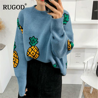 RUGOD New Fashion Women Sweater Pineapple Solid O Neck Knitted Winter Clothes Casual Women Pullovers pull femme hiver