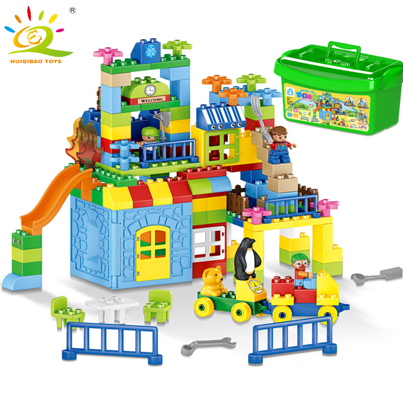 HUIQIBAO TOYS 160pcs Big Size Garden Farm Building Blocks Educational Toy Children Gift Compatible Legoed Duplo City xizai connection blocks cartoon building toy big size kitty assembly educational intelligence blocks melody for children gift