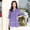 Women Blouses Tops 2016 New Summer Short Sleeve Embroidery Casual Woman Vintage Shirts Plus Size Tunics Femme Blusa Purple,Red
