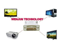 50 шт./лот разъем DVI-я вилочная часть двойной - ссылка 24 + 5 женское к VGA с 15-контактному видео монитор адаптер преобразователь для пк телевидение высокой чёткости