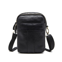 Messenger Bag Men's Shoulder Bags Leather Male Zipper Flap Small Man Casual Cow Leather Crossbody Bag for man Leather Handbags
