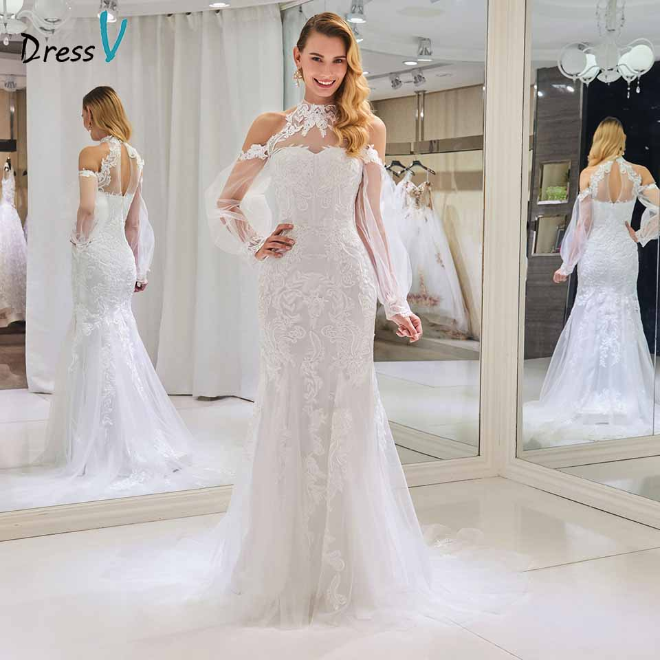 Detail Feedback Questions about Dressv elegant high neck wedding dress  mermaid appliques long sleeves floor length bridal trumpet outdoor church  wedding ... 11d423f47d3a