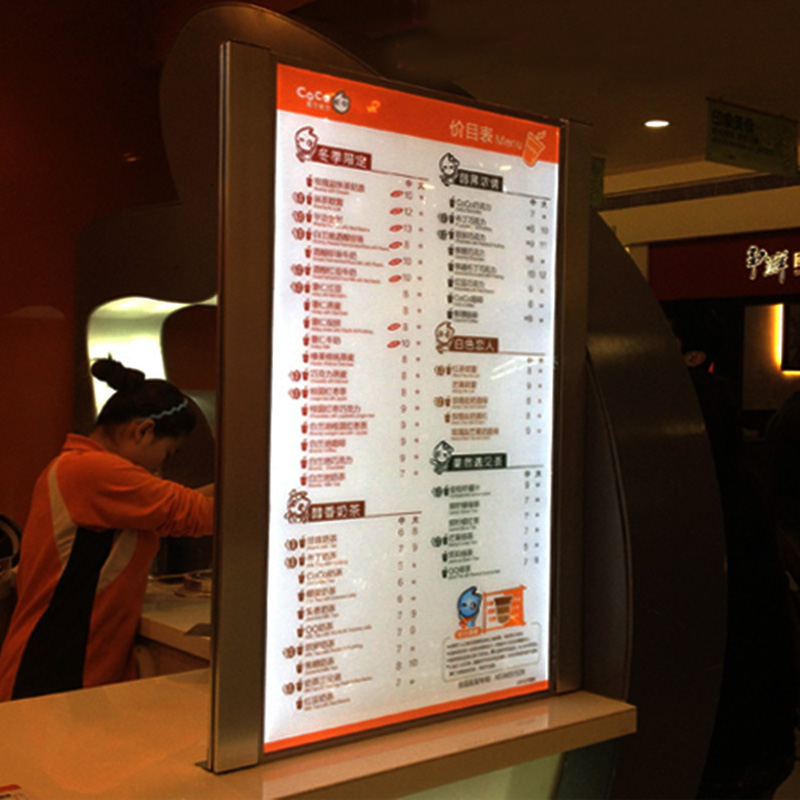 (1 Графика/колонки) односторонний горит меню ресторана световой короб с подсветкой знаки меню для гостиницы, ресторан, кафе, вынос