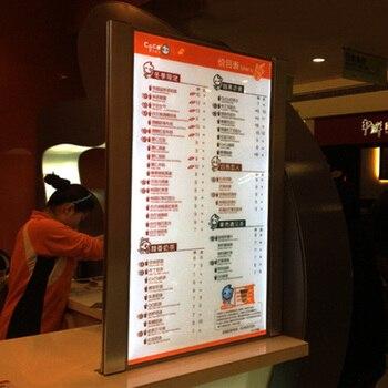 (1 graphique/colonne) boîte à lumière de Menu de Restaurant Lit simple face panneaux de Menu lumineux pour hôtel, Restaurant, café, à emporter