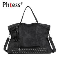 2018 Rivet Vintage PU Leather Female Handbag Fashion Tassel Messenger Bag Women Shoulder Bag Larger Top