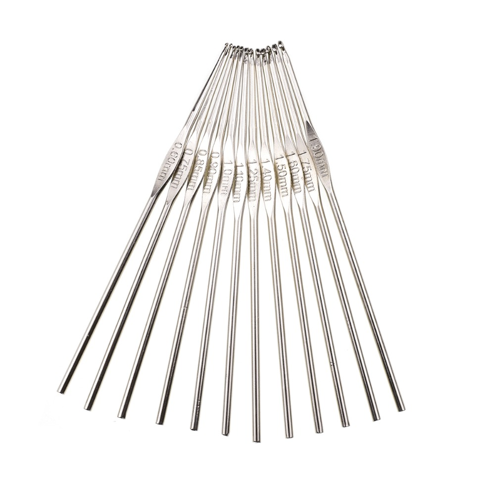 12pcs set Looen 0 6 1 9mm Small Size Crochet Hooks Set Mix Sizes Knitting Needles For Yarn Weave Tools Lace Crochet Needles Set in Sewing Tools Accessory from Home Garden
