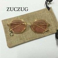 ZUCZUG New Unique Hexagon Sunglass Women Men Brand Designer Transparent Clear Mirror Sun Glasses Female Ladies