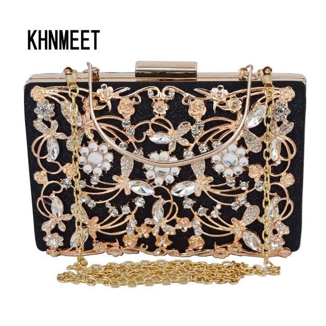969c30083a 2 Color Gold Black Clutch Evening Bag Crystal Party Luxury Wedding Purse  Women Chain Clutch Bag