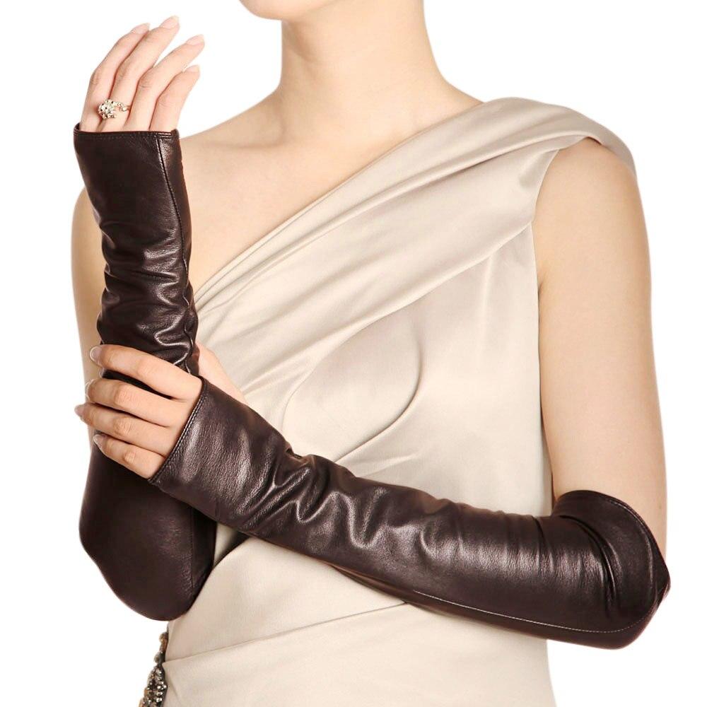 Mode femmes noir en peau de mouton mitaines sans doigts dames Long en cuir véritable chaud hiver gant coude solide mitaines vente L070NN
