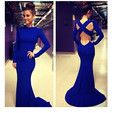 Best Sale Backless Long Sleeve Mermaid Evening Dresses Tea Length Long Tight Royal Blue Chiffon Prom Party Gowns Fast Shipping