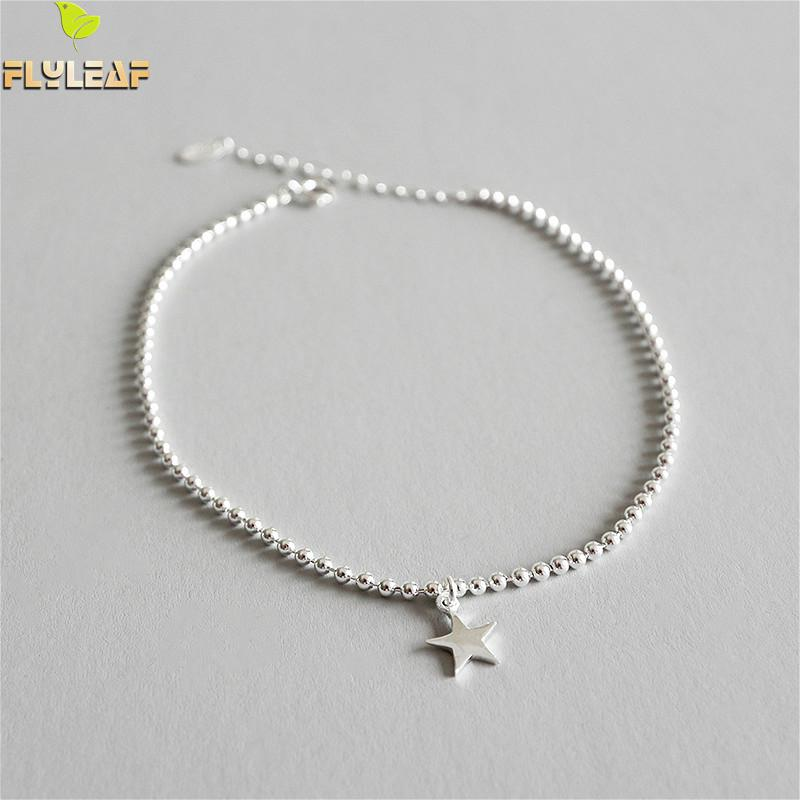 Flyleaf 925 Sterling Silver Anklets For Women Geometry Absorbing Beads Star Fashion Ankle Leg Fine Jewelry Enkelbandje Ins StyleFlyleaf 925 Sterling Silver Anklets For Women Geometry Absorbing Beads Star Fashion Ankle Leg Fine Jewelry Enkelbandje Ins Style