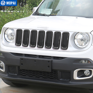 Image 5 - MOPAI ABS سيارة الخارجي إدراج غطاء شبكة تهوية أمامية أعواد تزيين ل Jeep Renegade 2015 2016 سيارة التصميم