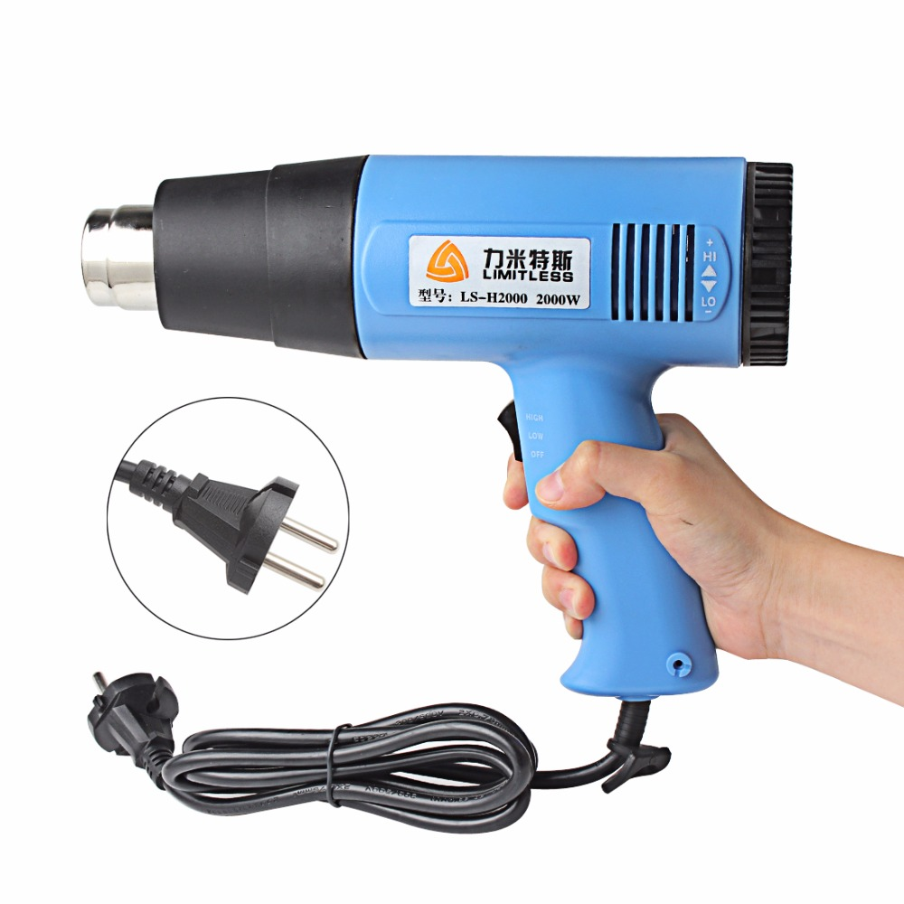 US EU Plug Temperature Adjustable 1500W 2000W Industrial Electric Heat Gun Handheld Hot Air Gun for Wallpaper Paint Stripping 1 set ac 220v 1800w hot air heat gun paint stripper 60 600 degree temperature adjustable hot air paint drying striping blower